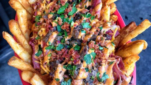 The only DUI you should be getting on a FRYDAY... these DUI FRIES!  Topped w/ Pastrami, Carne Asada, Bacon Bits, Cheddar Cheese, Chipotle Aioli & Cilantro! ...