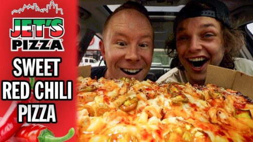 Eating Jet's Pizza's *NEW* Sweet Red Chili Pizza