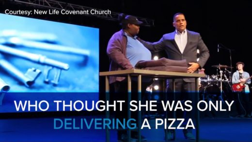 A Woman is Surprised When She Delivers a Pizza to a Church