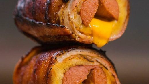 Bacon-wrapped cheese stuffed hot dog  would you try? ...