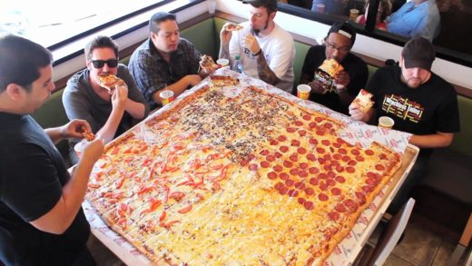 """Competitive Eaters Versus Wreckless Eaters in Big Mama's & Papa's Pizzeria's 54"""" Pizza Challenge!"""