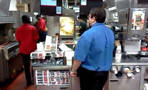 McDonalds worker not wearing gloves while making my food and FLIPS OUT !