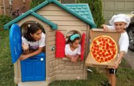 FOODporn.pl Pizza Delivery to our Playhouse from Food Truck! Kids Pretend Play