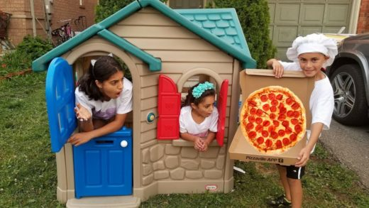 Pizza Delivery to our Playhouse from Food Truck! Kids Pretend Play