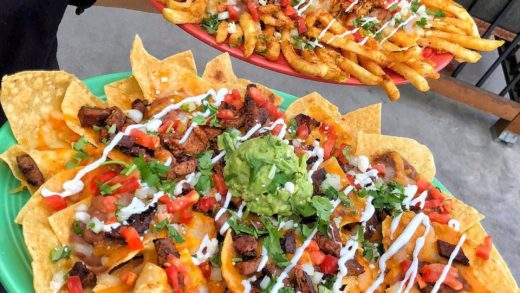 Question of the day, are you more of a NACHOS or FRIES fan when it comes to your CARNE ASADA plate . : (Carne Asada Nachos with Guac and Pollo Fries with Guac). :  ⠀ ——————————————— ⠀                              ...