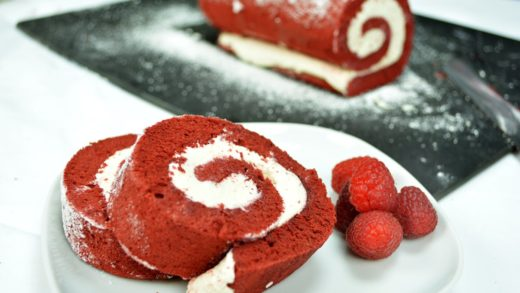 Red Velvet Swiss Roll Cake - Step By Step FoodPorn