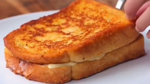 The perfect late night snack French Toastie with ham and cheese  Follow   for more! . . .                              ...