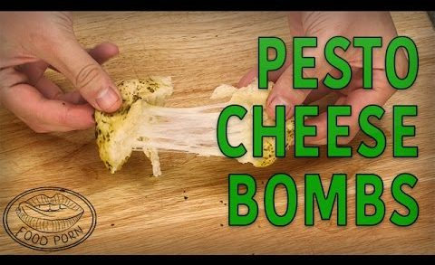 These Snacks are EVERYTHING: Pillsbury Biscuit Pesto Cheese Bombs #foodporn