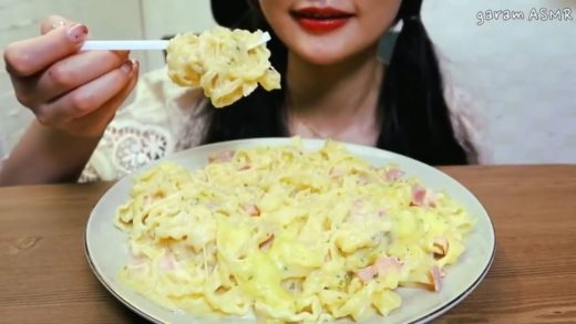 cr:   _ Food: Carbonara cream pasta  _ All hate will be deleted (this video is for ASMR purposes) -                               _ This video belongs to the person tagged at the beginning of my caption _ 162k...