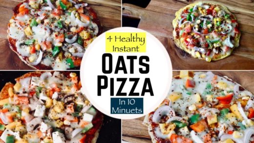 4 HomeMade Instant Oats Pizza Recipe | How to make Healthy Oats Pizza at Home | Hindi