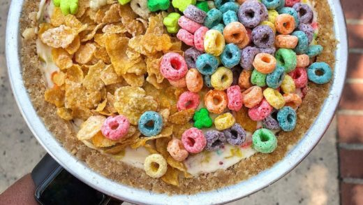 A Fruity Pebbles filled cheesecake topped with Frosted Flakes, Lucky Charms and Fruit Loops  Cereal Killer Cheesecake                                    ...