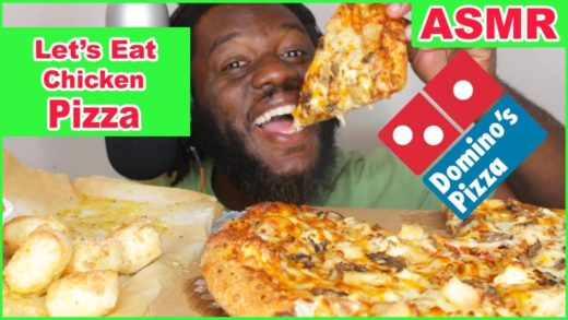 ASMR: Eating Pizza and Bread Bites from Dominos Pizza  No Talking