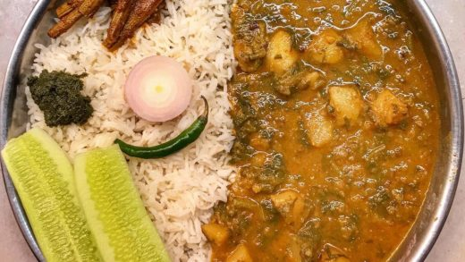 Aloo Dal Sagga with steamed rice, masaledaar drumsticks, sliced cucumber, and dhaniya patte ki chutney for lunch today.      ...
