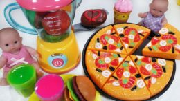 Baby doll and Velcro Cutting Fruit Ice Cream Pizza kitchen cooking toys refrigerator play – 토이몽