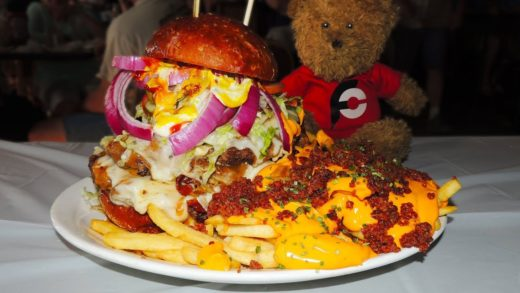 Bacon Cheddar Burger and Loaded Cheese Fries Challenge!!