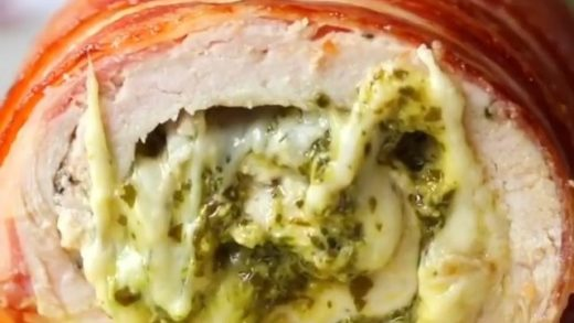 Bacon wrapped chicken pesto roll!!!   by ...