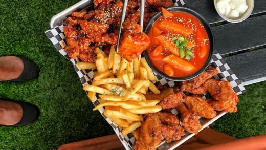Brave Wings  Located   CHICKEN PLATTER Soy Garlic Wings  Spicy Chicken Bites Truffle Fries Tteokbokki aka Spicy Rice Cakes                                ...