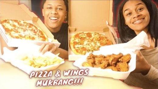 """CHEESY PIZZA & WINGS MUKBANG"" *WE FINALLY MOVED TO L.A*"