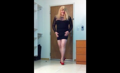 Carolina crossdresser MILF housewife, sexy legs, high heels, pantyhose, low-cut cleavage mini dress