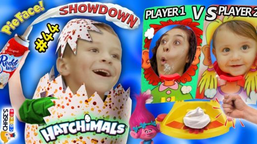 Chase's Corner: HATCHIMALS SURPRISE EGGS PIE FACE SHOWDOWN Challenge Mom & Shawn (#44)| DOH MUCH FUN