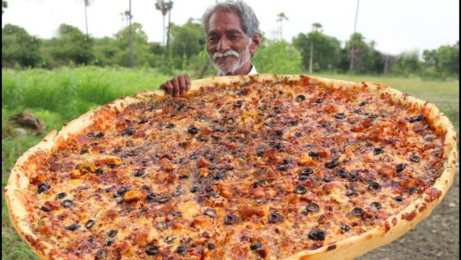 Cheese Pizza Recipe | Giant Paneer Cheese Pizza | Veg Pizza without Oven by Grandpa