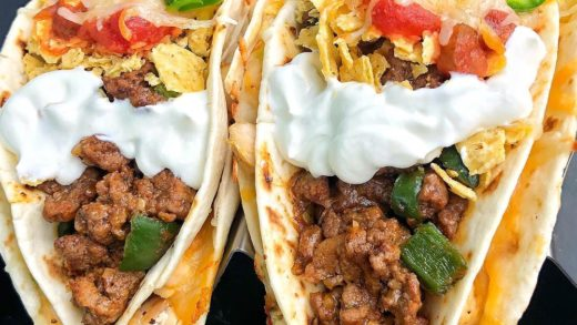 Chicken Quesadilla Beef Taco with Nachos on top! The ultimate tex-mex threesome....