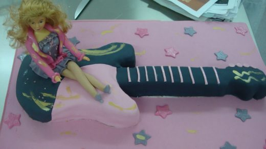 Como hacer una tarta con forma de guitarra con fondant. How to make a guitar cake with fondant