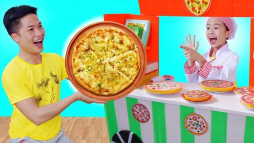 Elly Pretend Play e/ Giant Pizza Fast Food Toys for Children Girls