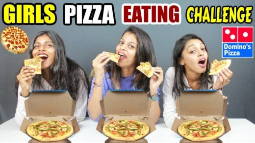 GIRLS PIZZA EATING CHALLENGE | 3 X DOMINOS PIZZA EATING CHALLENGE | Food Challenge India (Ep-101)