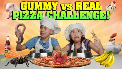 GUMMY VS. REAL: PIZZA CHALLENGE!!! Spiders, Chickens & Worms OH MY!