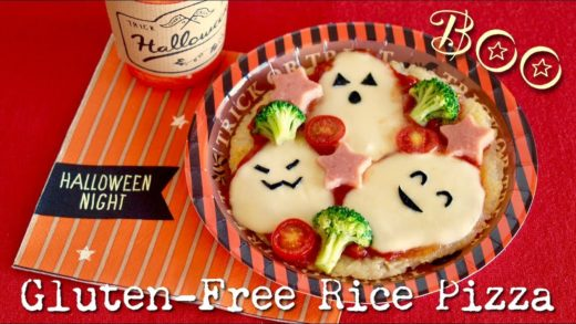 HALLOWEEN Ghost Rice Pizza (No Oven Gluten-Free Recipe) | OCHIKERON | Create Eat Happy :)