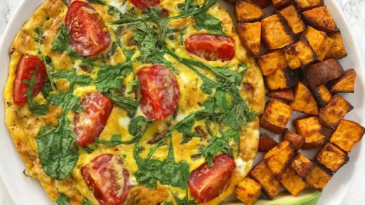 Happy Friday, friends! I'm celebrating  style with a mini, personal arugula, red onion, tomato, and parmesan frittata with roasted sweet potatoes and avocado slices. Who's ready for the weekend?! ...