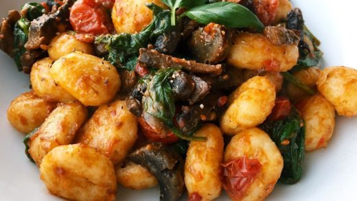 If you weren't craving gnocchi you are now  potato gnocchi with chili pesto, spinach, mushrooms and cherry tomatoes. Ultimate comfort food  ...