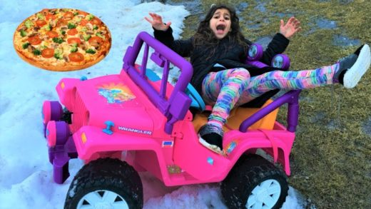 Kids Buy Pizza on power wheels ride on car!! funny video