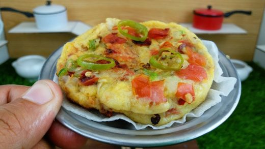 MINI FOOD PIZZA OMELET RECIPE - COOKING THICK LAYER PIZZA OMELET - MFS