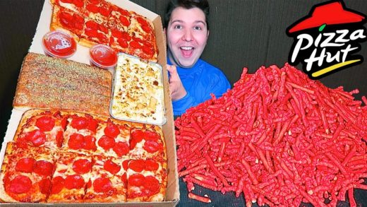 Massive Pizza Hut Takis Dinner Box • MUKBANG