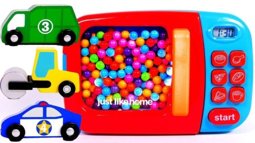 Microwave Toy for Kids Learn Colors with Car Vehicles and Blender Just Like Home Kitchen Appliance