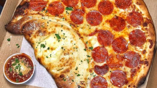 Pepperoni Pizza  & Calzone rolled into one. Would you Like a slice of this Pie?  Tag your  friends.  By/At ...