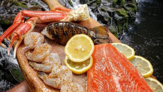 Some high class seafood out in the woods by  What are you gonna be cooking first out of this spread???     Credit:                               ...