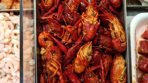 Some of the seafood in today's meals.  Crawfish, crab, ahi poke, shrimp.                 ...