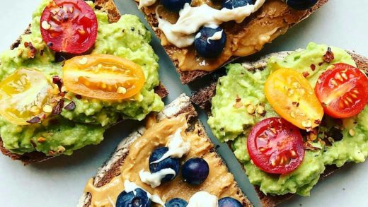Sourdough toasts with smashed  cherry  and chilli flakes or with crunchy   and a drizzling of white chocolate cookie protein spread  By                            ...