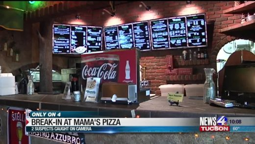 Suspects caught on camera after break in at Mama's Pizza