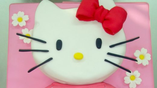 Tarta de Hello Kitty grande. How to make this hello kitty fondant cake. torta