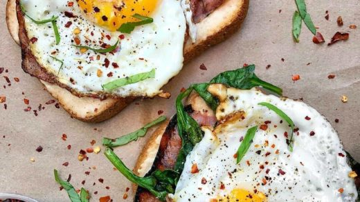 Toasts with   spinach & fried eggs   By                              ...
