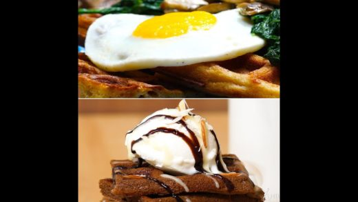 2 ways waffles | Chocolate Waffle | Cheesy Chickpea Waffles With Mushrooms & Wilted Spinach