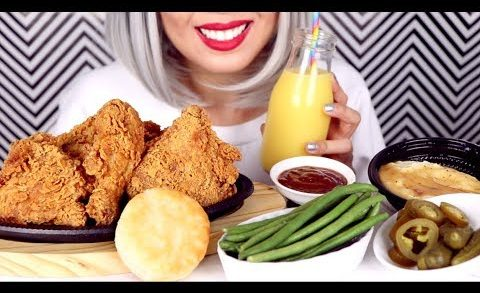 ASMR Eating Crunchy Fried Chicken, Pickles, Vegetables *No Talking*
