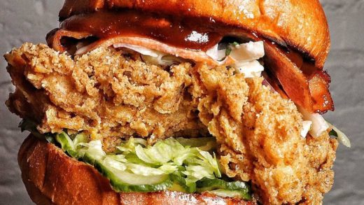 BBQ Sunset up in house - crispy buttermilk fried chicken, house BBQ sauce, pickles, slaw and smoked streaky bacon                 ...