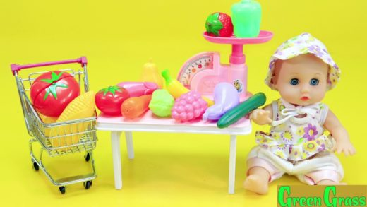 Baby Doll Toy kitchen Set Cooking  vegetables soup baking bread slime egg velcro .