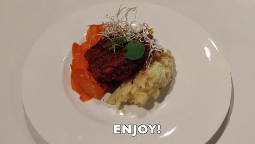 Beet Patties with Mashed Potatoes