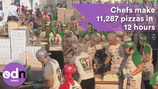 Chefs make a record breaking 11,287 pizzas in 12 hours